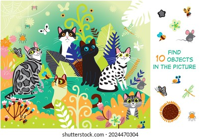 Find 10 objects in the picture. Hidden objects puzzle. Cats in the meadow. Summer. Funny cartoon character.