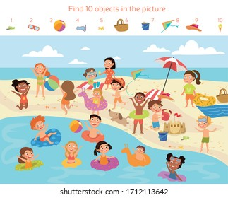 Find 10 objects in the picture. Puzzle Hidden Items. Group of kids having fun on the beach. Vector illustration