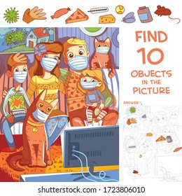 Find 10 objects in the picture. Puzzle Hidden Items. Family with children and pets sitting at home in protective masks on self-isolation and watching TV. Funny cartoon character
