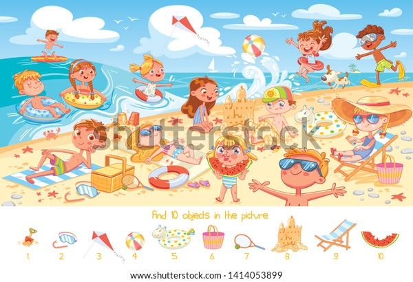 Find 10 objects in the picture. Puzzle Hidden Items. Group of kids having fun on beach. Child swimming with inflatable rubber circle and flippers, sunbathe on the beach, build sand castle