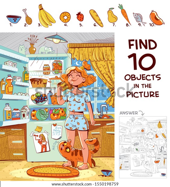 Find 10 objects in the picture. Puzzle Hidden Items. Girl in pajamas eating a piece of cake near the refrigerator. Funny cartoon character