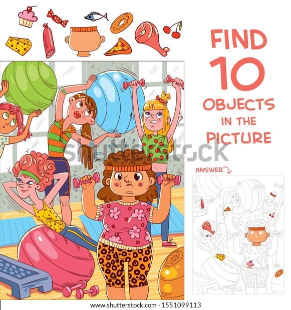 Find 10 objects in the picture. Puzzle Hidden Items. A group of girls are engaged in fitness. Funny cartoon character