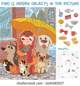 Find 12 hidden objects in the picture. Under umbrella. Little girl protects homeless pets from rain. Puzzle Hidden Items. Funny cartoon character