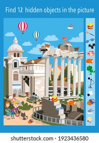 Find 12 objects in the picture. Children feed kittens in ruins. Vector illustration, full color.