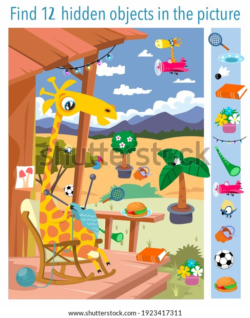 Find 12 objects in the picture. Giraffe at grandmother's house. Vector illustration, full color.