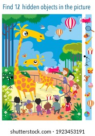Find 12 objects in the picture. Giraffes at the zoo. Vector illustration, full color.