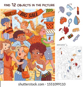 Find 12 objects in the picture. Puzzle Hidden Items. Women during the big sale. Funny cartoon character