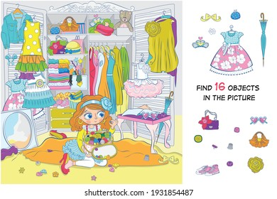 Find 16 items in the picture. Hidden objects puzzle. The girl fantasizes, chooses an outfit for herself. Funny cartoon character.