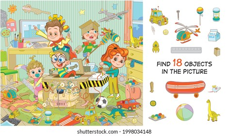 Find 18 objects in the picture. Hidden objects puzzle. Children play in a time machine. Funny cartoon character
