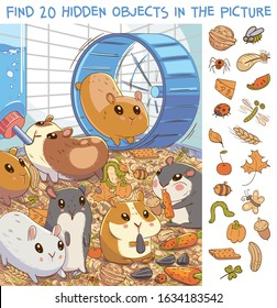Find 20 hidden objects in the picture. Hamsters in a cage. Puzzle Hidden Items. Funny cartoon character