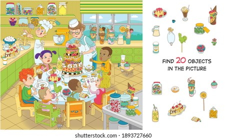 Find 20 objects in the picture. Hidden objects puzzle. Children of different nationalities are celebrating their birthday. Funny cartoon character. - Shutterstock ID 1893727660