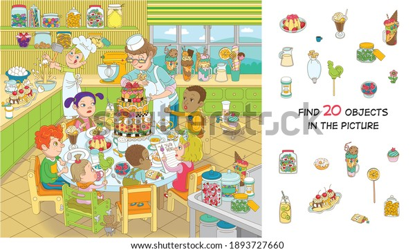 Find 20 objects in the picture. Hidden objects puzzle. Children of different nationalities are celebrating their birthday. Funny cartoon character.