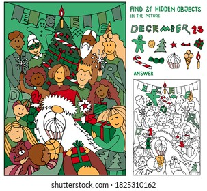 Find 21 hidden objects. Santa Claus, children, parents, grandparents, adults by the Christmas tree. Puzzle for kids. Christmas, New Year game for family celebration, school, party. Hand drawn vector.