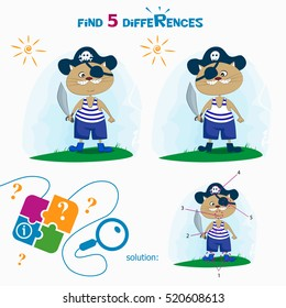 Find 5 differences. Cartoon Vector Illustration of Finding Differences Educational Activity Task for Children with cute cat pirate.