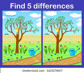 Find 5 differences. Spring colorful picture with a blossoming tree, birds and flowers. Interactive game for the development of children. Vector and illustration.