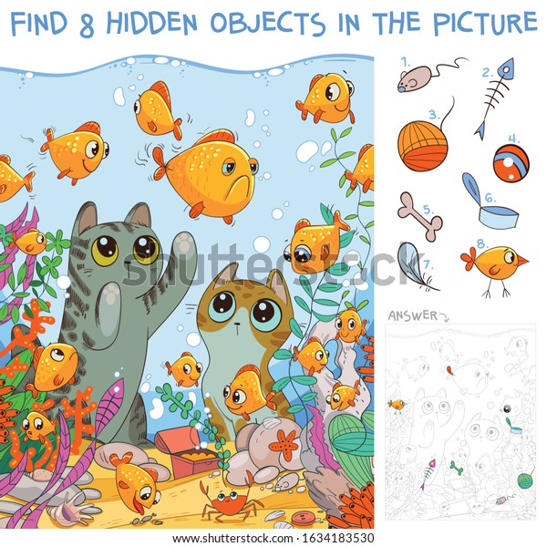 Find 8 hidden objects in the picture. Cats looking at fish in an aquarium. Puzzle Hidden Items. Funny cartoon character
