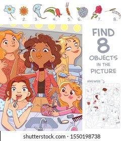 Find 8 objects in the picture. Puzzle Hidden Items. Girls paint eyelashes and lips and comb hair together near the mirror. Girl doing makeup in bathroom. Funny cartoon character