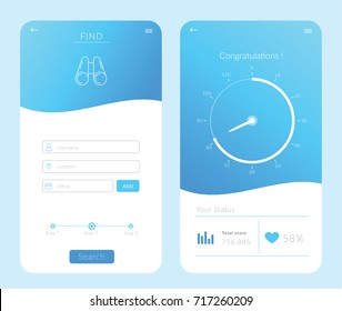 Find Application UX UI. Line art. Vector