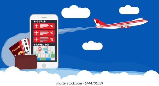 Find best deals cheap flight online travel plane vector illustration. Business booking service trip vacation reservation. World map airline banner agency adventure tour