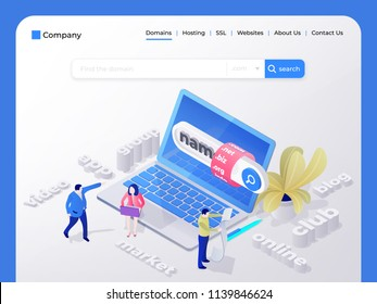 Find and buy a domain name. Page design templates for hosting company, digital marketing, business planning. People choose a domain name for the site. Vector illustration in isometric style