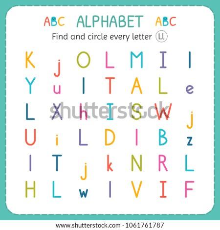 find circle every letter l worksheet stock vector royalty free  find and circle every letter l worksheet for kindergarten and preschool  exercises for children