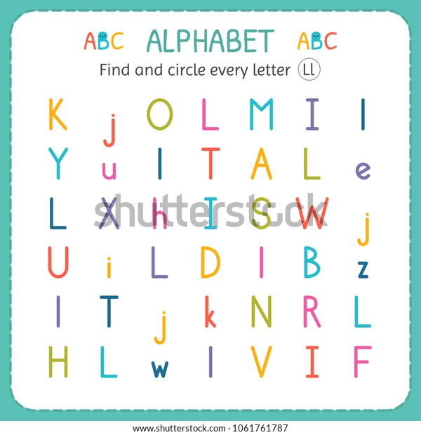 Find Circle Every Letter L Worksheet Stock Vector (Royalty ...
