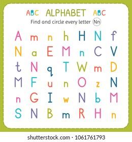 Find circle every letter n worksheet stock vector royalty free find and circle every letter n worksheet for kindergarten and preschool exercises for children ibookread PDF