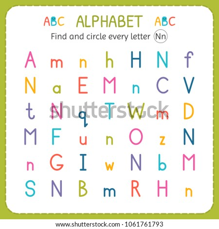 Find Circle Every Letter N Worksheet Stock Vector Royalty Free