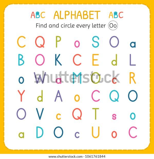 Find Circle Every Letter O Worksheet Stock Vector Royalty Free 1061761844 - 36+ Letter O Worksheets For Kindergarten Free PNG