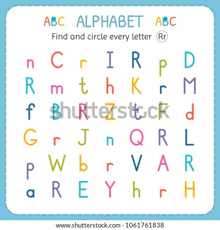 Find Circle Every Letter R Worksheet Stock Vector Royalty Free
