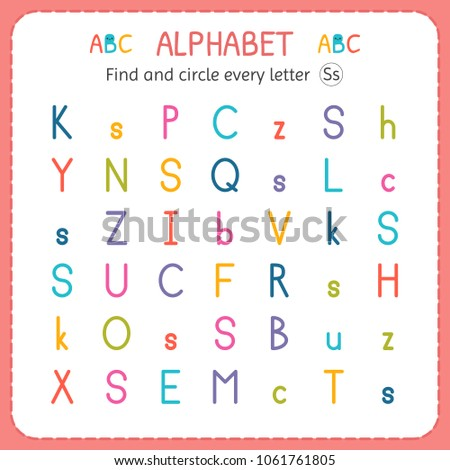 Find Circle Every Letter S Worksheet Stock Vector Royalty Free