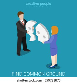Find common ground flat 3d isometric lifestyle reconcile reconciliation concept web vector illustration. Couple combine broken chat bubble. Creative people collection.
