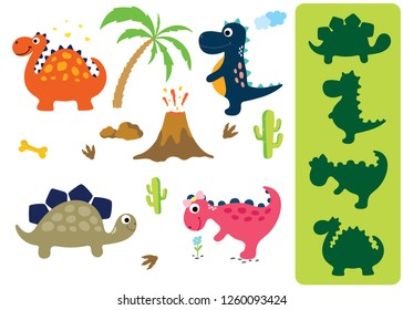 Find the correct shadow: Adorable dinosaurs isolated on white background. Dinosaur footprint, Volcano, Palm tree, Stones, Bone and Cactus.