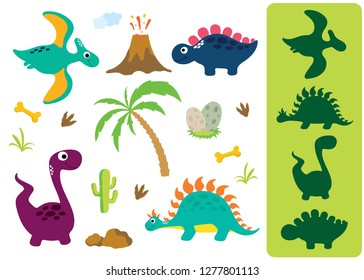 Find the correct shadow: Adorable dinosaurs isolated on white background. Dinosaur footprint, Volcano, Palm tree, Stones, Bone, Grass and Cactus.