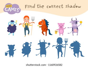 Find the correct shadow,  education game for children. Girl and Farm Animals