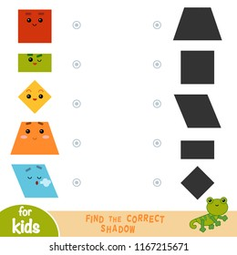 Find the correct shadow, education game for children. Geometric shapes -  Rectangle, Parallelogram, Square, Rhombus, Trapezoid