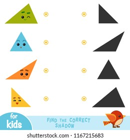 Find the correct shadow, education game for children. Geometric shapes - Triangles