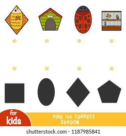 Find the correct shadow, education game for children, set of items - fish, dog house, ladybug, birdcage