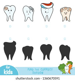 Find the correct shadow, education game for children, teeth set