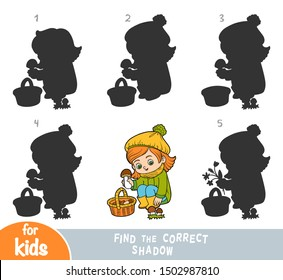 Find the correct shadow, education game for children, Cartoon little girl and mushrooms