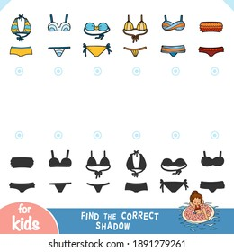 Find the correct shadow, education game for children. Set of swimwear