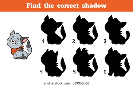 Find the correct shadow, education game for children (cat)