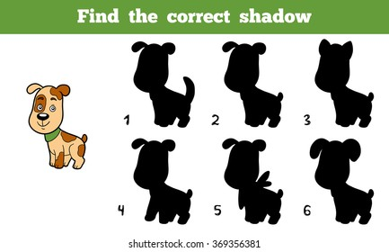 Find the correct shadow, education game for children (dog)