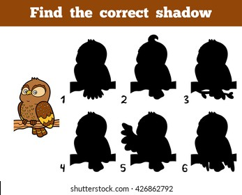 Find the correct shadow, education game for children. Little owl