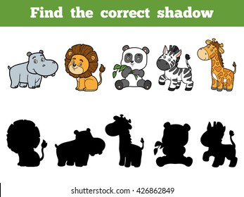 Find the correct shadow, education game for children. Animal collection with hippo, lion, panda, zebra, giraffe