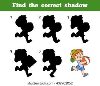 Find the correct shadow, education game for children. Little boy with a ball
