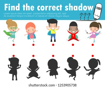 Find the correct shadow. Educational game for children, Shadow Matching Game for kids, Visual game for kid. Connect the dots picture,Education Vector Illustration.