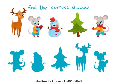 Find the correct shadow. Educational game for children. Vector illustrations for children books. Vector cartoon christmas elements in children's style.
