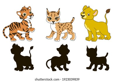 Find the correct shadow, educational game for toddlers, cartoon lion, lynx and tiger on a white background, vector illustration