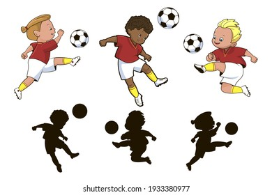 Find the correct shadow, an entertaining game for children on a sports theme, boys soccer players play a ball in different poses.Vector illustration in cartoon style, isolated flat
